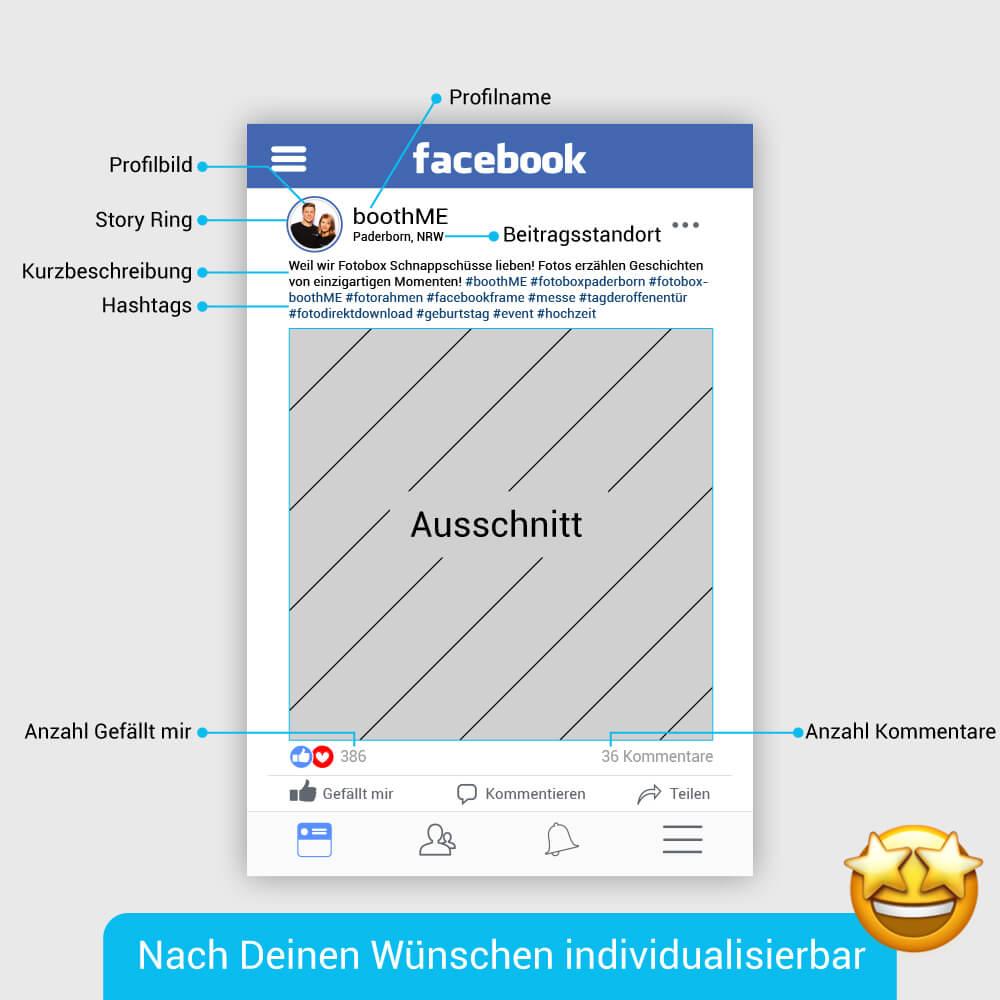 Personalisierter Facebook Fotorahmen mit Produktbeschreibung